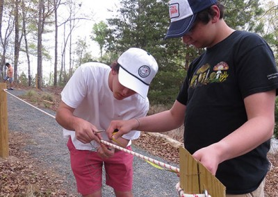 Global Youth Service Day 2014 – adding markers to the guide rope.