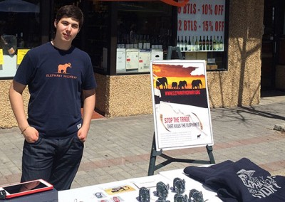 Josh selling Elephant Highway merchandise at a Tenafly, NJ street festival.
