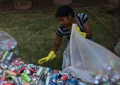 Sonali sorting recyclables.