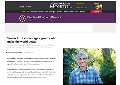 Barron Prize encourages youths…CSMonitor.com September, 2015