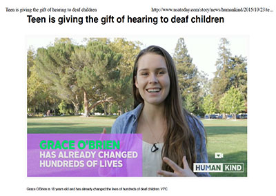Teen is giving the gift of hearing…USA Today October, 2015