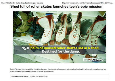 Shed full of roller skates launches…USA Today October, 2015