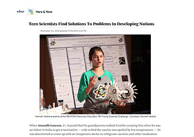 Teen Scientists Find Solutions… Here & Now November, 2016