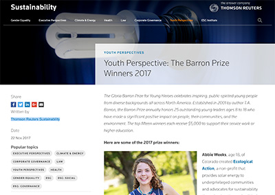 Youth Perspective:The Barron Prize…Reuters SustainabilityNovember, 2017