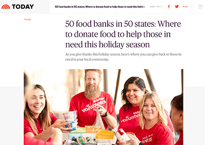 50 food banks in 50 states…Today.comNovember, 2018