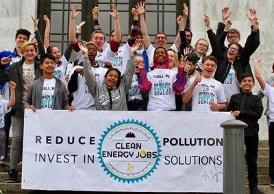 Charlie and Jeremy with student supporters as they lobby in support of Oregon's Clean Energy Jobs bill